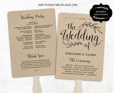 Printable Wedding Program Template, Fan Wedding Program, Kraft Paper Program, Wedding Fans, Editable text, 5x7, 3 Colors Included