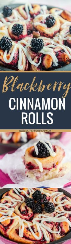 Blackberry Cinnamon Rolls - Homemade dough with real fruit and topped with a delicious glaze.