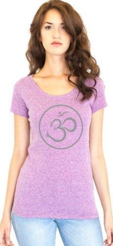 Ladies Recycled Triblend Yoga Tee Shirt - Thin Om Symbol - Eco Purple / Medium, Women's