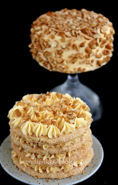 Sans Rival - a Filipino dessert consisting of layers of meringue and French buttercream with cashews.