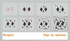 Original steps to a classic pattern.  I didn't have too much time for drawing this weekend, so I only did one view of this.  But if anyone is finding the second view of help, just let me know and I'll do one up!