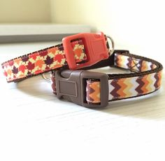 Autumn Leaves & Autumn Chevron Patterns for Dog Collars, Dog Leashes, or Sets by Marlo Ann's Boutique