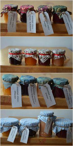 Geschenkverpackung für Marmelade aus Schnapsgläsern und Stoffresten / Jam presented as gift in schnaps jars beautified with scraps of fabric / Upcycling