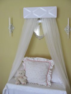TUFTED BeD CaNoPy Crib WHITE Satin Princess by SoZoeyBoutique