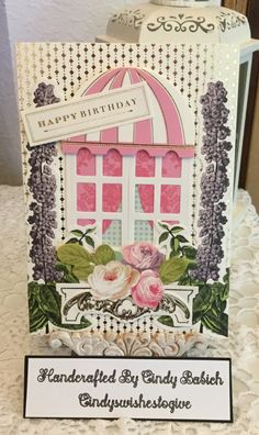 Birthday Card/ Made with Anna Griffin Window Ledge Card Making Kit (cindyswishestogive Anna Griffin Inc, Anna Griffin Cards, Window Ledge, Card Making Kits, Window Cards, Halloween Door, Hearth And Home, Easel Cards, Shaker Cards