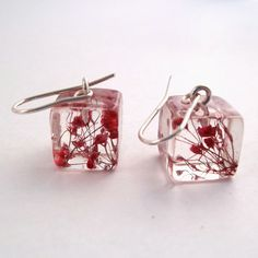 Red Resin Earrings Floral Earrings Pressed by SpottedDogAsheville, $35.00