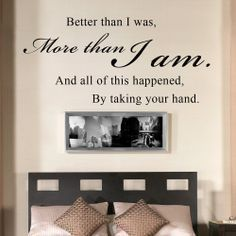 All Of This Happened By Taking Your Hand – Romantic Couples Quote Wall Decal Vinyl Sayings Bedroom Decor (Black, Small) -: Wedding gift