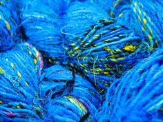 Turquoise Handspun Recycled Pure Silk  Sari Yarn, Soft, Fuzzy, Fabulous! Unusual, Luxury Art Yarn 'Turquoise' 100g approx 45yards/40metres