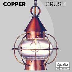Cape Cod #Pendant: #Nautical style #copper #lantern hanging light.  Perfect outdoors under a covered porch or entry. Great for use indoors over a #kitchen island or dining table. Solid copper and #brass #handmade  #madeinUSA #MadeInAmerica
