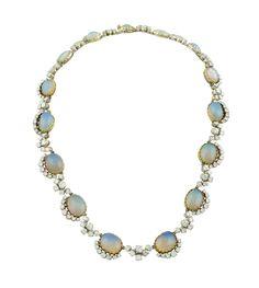 Lot 172 A platin, 18k gold, opal and diamond collier 1940/50s http://www.colasantiaste.com/?language=en