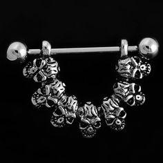 Skull Nipple Rings Shield Bar Ring Punk Body Jewellery