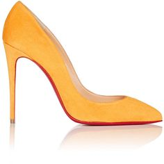 Christian Louboutin Women's Pigalle Follies Suede Pumps (€600) ❤ liked on Polyvore featuring shoes, pumps, heels, sapatos, обувь, orange heels shoes, red sole pumps, slip-on shoes, pointy toe pumps and orange shoes