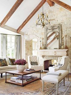 although i'm not much into the French Country style, i just love beams so I had to add this just for that alone