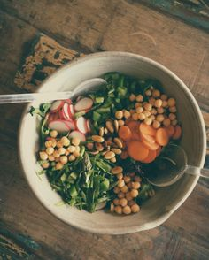 Big Salad: shaved asparagus + carrots + radishes + green peppers + chickpeas + toasted almonds + your favorite dressing