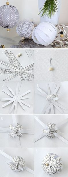 weihnachtsdekoration selber machen, weihnachtskugeln aus papier basteln