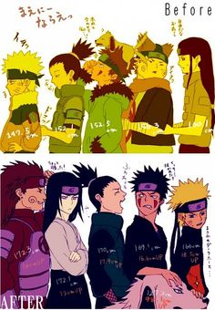 Before and after. I believe this was a group sent for the mission to rescue Sasuke.