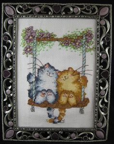 Cross Stitch Cats on a Swing | Flickr - Photo Sharing!