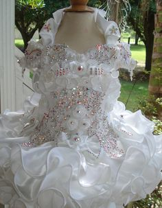 White Snowflake Collar Glitz Pageant Dress