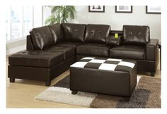 Create a space of modern style and simple comfort with this bonded leather sectional sofa in espresso. Its plush seating features back supports accented with light stitching and tufting for a grand addition to any  living room or den. It also includes a reversible chaise and drink console providing versatility and functionality.