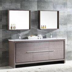 Fresca Trieste Allier 72 Double Bathroom Vanity Set with Mirror Fresca Double Sink Bathroom, Modern Master Bathroom, Single Bathroom Vanity, Contemporary Bathrooms, Bathroom Vanities, Bathroom Cabinets, Sinks, Small Bathroom, Trieste