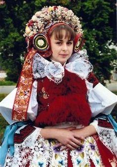 Europe | Portrait of a woman wearing a traditional headdress, South Moravia, Zlin Region, Czech Republic