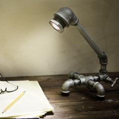 galvanized cast iron piping desk lamp