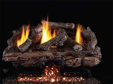 Gas Logs :: Real Fyre :: Vent Free Gas Logs :: 18'' :: Real Fyre 18'' Charred Aged Split Oak Vent Free Log Set - CHASG10-18