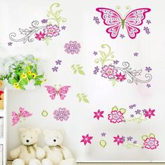 Flying Butterfly Flower wall stickers Bedroom Living Room Window Decoration Wall Decal Sticker Nursery Room Decor Mural #Affiliate