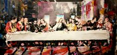Last Supper Art, Da Vinci Last Supper, The Last Supper Painting, Modern Art Styles, Contemporary Style, Original Paintings, Original Art, Acrylic Material, Figurative Art