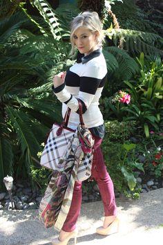 #preppy, #burgundy, #Burberry, #heels, #fashion, #Express, #Stripes