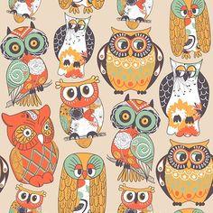 Seamless owl pattern. Creative patterns and illustrations at www.kursiv.com