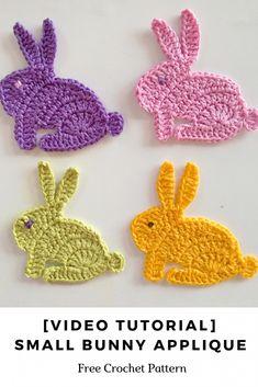 [Video Tutorial] Small Bunny Applique Crochet Pattern - Knit And Crochet Daily - [Video Tutorial] Small Bunny Applique Crochet Pattern – Knit And Crochet Daily - Crochet Applique Patterns Free, Easter Crochet Patterns, Crochet Motif, Crochet Stitches, Free Crochet, Knitting Patterns, Knit Crochet, Crochet Appliques, Crochet Embellishments