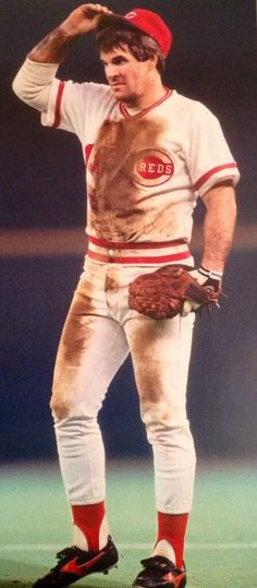 Pete Rose of the Cincinnati Reds was one of the biggest stars in sports. He helped lead the Reds to World Series Titles in 1975 and 1976 and set the MLB record for career hits before being banned from baseball due to a gambling scandal. But Football, Baseball Star, Sports Baseball, Baseball Players, Baseball Cards, Baseball Uniforms, Baseball Equipment, Mlb Uniforms, Travel Baseball