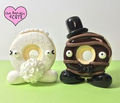 Signature donut wedding cake topper set! Available for purchase at http://therepublicofcute.com THIS IS THE INTELLECTUAL PROPERTY OF THE REPUBLIC OF CUTE® ALL DESIGNS ARE PROTECTED BY COPYRIGHT LAW AND ARE NOT TO BE RECREATED AND SOLD WITHOUT MY EXPRESS PERMISSION.