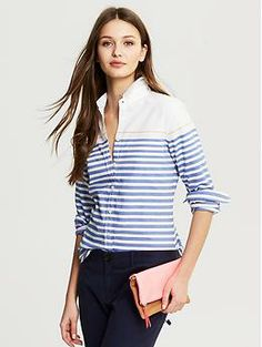 Horizontal Stripe Oxford Shirt | Banana Republic