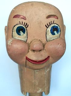 Antique Hand Carved Ventriloquist Head (Vent Figure) Original Paint circa 1930 Collection Jim Linderman Dull Tool Dim Bulb Folk Art