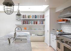 White fantasy worktop in this simple, white matt lacquer, metro kitchen Marble Worktops, Functional Kitchen, Round House, Timeless Elegance, Kitchen Design, Bookcase, Shelves, Contemporary, Furniture