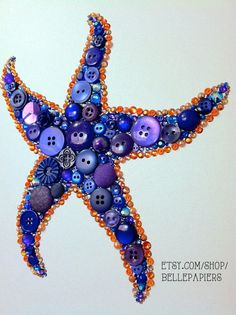 8x10 Button Art Starfish Button Art & Swarovski Art Beach House Decor