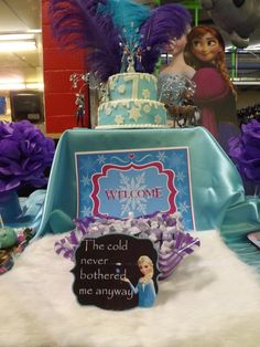 Disney Frozen Birthday Party cake and sign!  See more party ideas at CatchMyParty.com!