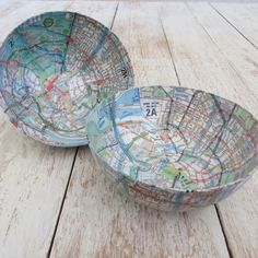 Papier-mâché Small Map Bowl
