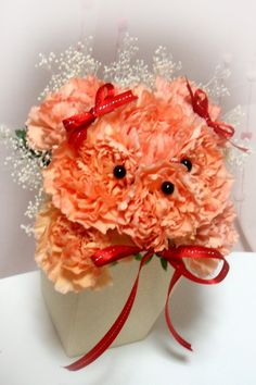 teddy bear flower tutorial. Great gift for new mom,valentines day and of course just because