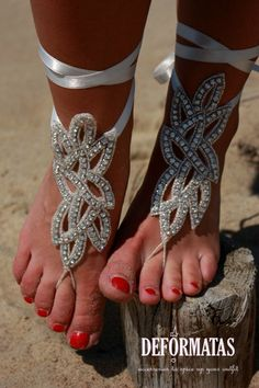 Bridal Swarovski Crystal Barefoot Sandals,Boho Slave Anklet, foot jewelry, ankle bracelet on Etsy, $35.00