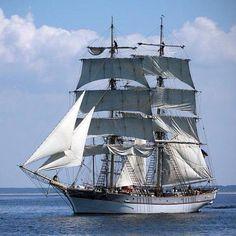 """Swedish brig """"Tre Kronor af Stockholm"""". Built in 2005, she serves as a sail training ship. Based at Stockholm, Sweden."""