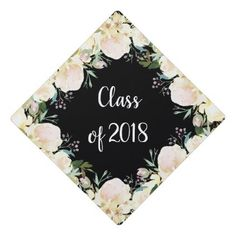 #Trendy Ivory Watercolor Floral   Class of 2018 Graduation Cap Topper - customized designs custom gift ideas