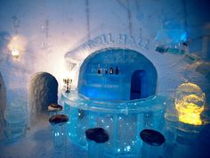 Apart from its 80 beds the Alta Igloo Hotel houses suites, an ice gallery, an ice bar, an ice chapel and several lounges. Sculpture work also is present here -- hulking ice sculptures that appear as stone until you touch them and they melt in your hand.