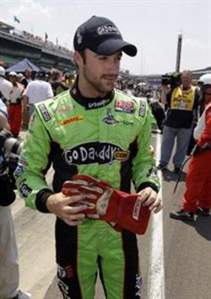 Canadian IndyCar driver James Hinchcliffe honours fellow Canadian Greg Moore by carrying his signed trademark red gloves with him for his qualifying laps on Pole Day at the Indy 500 (2012)