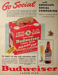 'This Bud's for you!'.....America's Social Companion, a six-pack of beer. (Budweiser, 1950)