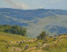 Skip Whitcomb. Painting with sheep and mountain