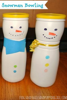 DIY Snowman Bowling with sock snowballs for Kids