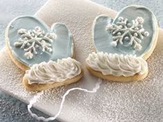"Mitten cookies-- I like the ""fuzzy"" look of the piped cuff frosting."